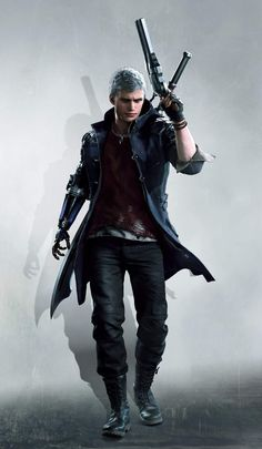 This HD wallpaper is about man holding a pistol game character, Devil May Cry Nero (Devil May Cry), Original wallpaper dimensions is file size is Devil May Cry 4, Hack And Slash, Overwatch, Game Character, Character Design, Nero Dmc, Albert Wesker, Foto Top, Cyberpunk 2020