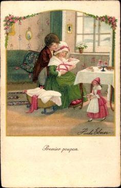 Kuenstler-Ak-Ebner-Pauli-Premier-poupon-Erste-Puppe-Kinder-901952