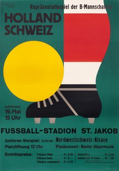 Holland Schweiz Fussball-Stadion by Leupin, Herbert (1959) | Shop original vintage posters online: www.internationalposter.com