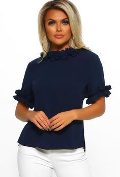 Shop women's tops at Pink Boutique - From shirts to blouses, look on trend with PB! Pink Boutique Uk, Smart Jackets, Navy Blouse, Workwear Fashion, Office Looks, Navy Tops, Short Sleeve Blouse, Occasion Dresses, Dress To Impress