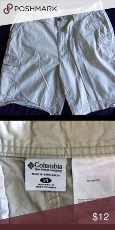 Columbia Men's Cargo Shorts Columbia men's khaki cargo shorts button closure. In great condition! Size 34 waist Columbia Shorts Cargo