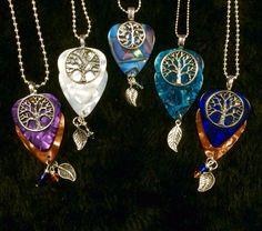 Group Tree of Life Guitar Pick Pendents $21 http://inlightenedjewelrydesign.com
