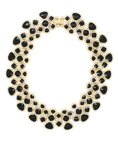 Look at this Black & Goldtone Noir My Neck Necklace on #zulily today!