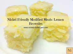 Nickel-Free Lemon Brownies