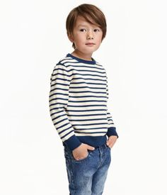 Striped sweater in a soft, fine cotton knit with long sleeves.