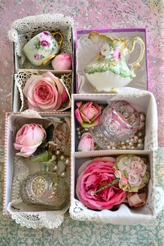 Great tea party favors  ~  Mismatched doilies, lonely cup or pitcher, roses and little trinkets, use as game prizes.