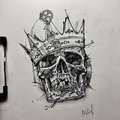 quick drawing for work Skull Tattoo Design, Tattoo Design Drawings, Skull Tattoos, Tattoo Sketches, Body Art Tattoos, Hand Tattoos, Sleeve Tattoos, Tattoo Designs, Wrist Tattoo