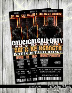 Call of duty ghosts favor tags call of duty ghosts party call of black ops 3 birthday invitation tickets printable by wimbsy filmwisefo Image collections