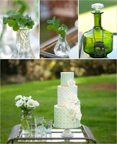 Green wedding cake. View more tips & ideas on our Facebook Page : https://www.facebook.com/BoutiqueBridalParty