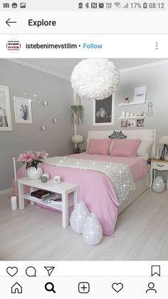✔ 52 inspiring teen girl bedroom decor ideas 30 in 2019 home Bedroom Decor For Teen Girls, Cute Bedroom Ideas, Cute Room Decor, Teen Room Decor, Girl Bedroom Designs, Teen Bedroom, Teenage Bedrooms, Master Bedroom, Pink Bedrooms
