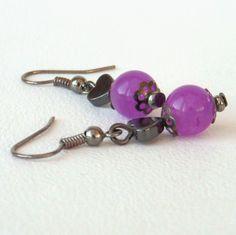 Hematite and jade earrings £6.00