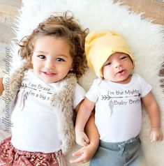 Brave Big Sister & Mighty Baby Brother Boho Matching Sibbling Shirts -Bohemian Baby- Sibbling Shirts - Big Sister Shirt - Baby Brother Shirt -Shower Gift - Arrow Shirt