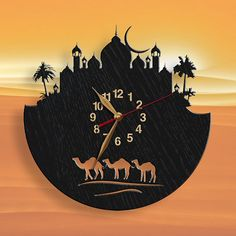 Camels Eastern city Oriental Night Wooden Wall Clock