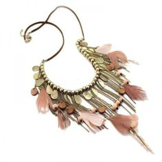 Sumni Boho Feather and Copper Chains Necklace