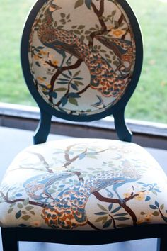 DwellStudio Vintage Plumes Jade on dining chair