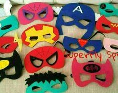 Ten 10 Felt Superhero Masks Ironman by SuperFlySprouts on Etsy