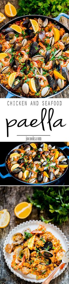 Chicken and Seafood Paella - a classic Spanish rice dish made with Arborio rice, packed with chicken, sausage, mussels, clams and shrimp and loaded with flavor. (Mexican Recipes With Shrimp) Fish Recipes, Seafood Recipes, Mexican Food Recipes, Chicken Recipes, Cooking Recipes, Healthy Recipes, Ethnic Recipes, Seafood Paella Recipe, Recipies