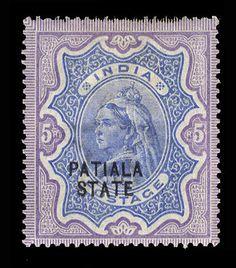 India Patiala 1891-1902 Victoria, 1/2a-5r, complete set, h.r., fine-v.f. (SG 13-34) (Catalog value £ 700)    Dealer  Cherrystone Auction    Auction  Estimate price:  375.00US$