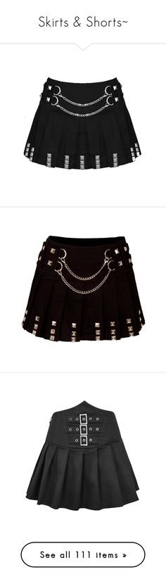 """Skirts & Shorts~"" by alice-the-skatergirl ❤ liked on Polyvore featuring skirts, bottoms, mini skirts, saias, short skirts, punk skirt, goth mini skirt, chain skirt, gothic skirts and short pleated skirt"