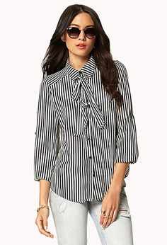 Essential Tie-Front Vertical Striped Shirt | FOREVER21 - 2047501321 I think I like it ?