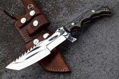 CFK Ipak Custom Handmade Mirror Polish D2 Tracker Hunting Bushcraft Tanto Knife   eBay