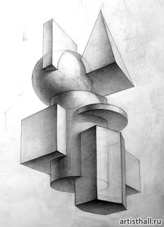 Architecture Drawing Discover composition of geometric shapes: 16 thousand and . Geometric Shapes Art, Geometric Drawing, 3d Drawings, Pencil Drawings, Sketchbook Drawings, Poster Mural, Composition Drawing, Perspective Sketch, Perspective Drawing Lessons