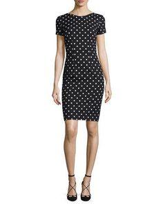 B38AM Carolina Herrera Short-Sleeve Polka-Dot Sheath Dress, Black/White