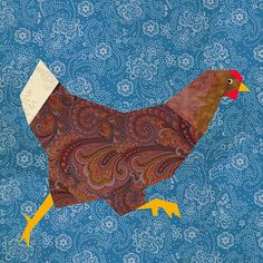This funny hen pattern is a very versatile design that can be used for a beautiful folk style lap quilt or wall hanging, as well as for many kitcheen projects, easter projects, table mats, or cussions ! Just follow your imagination ! This block is also part of a farm set (as shown in pict.4) also available in this shop .  This PDF quilt block pattern includes clearly labeled paper piecing pattern sections, clear color chart and comprehensive instructions to sew the block in a range of sizes…