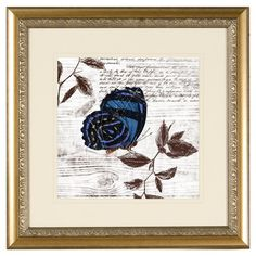 """Framed giclee print on paper with a butterfly motif and floral accent.    Product: Framed giclee printConstruction Material: Paper, glass and polystyreneColor: Gold frameFeatures:  Comes ready to hangBeautifully framed and matted Dimensions: 18.75"""" H x 18.75"""" W"""