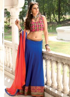 Blue Georgette Embroidered Patch Border Work Designer Lehenga Choli, comes with dashing blouse.This designer saree covered with  Embroidered, Patch Border Work. With a unique combination of  Blue color. Its give you look like ferry