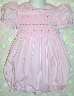 Girls Hand Smocked Bubble Romper. I remember my Mum making our lovely baby dresses into rompers like this for our new baby brother (after 4 girls)!!!!