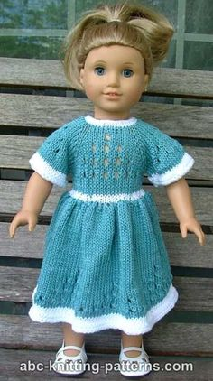 American Girl Doll Eyelet Dress free knitting pattern
