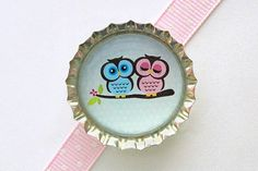 Owl Couple Blue Bottle Cap Magnet  owl magnet cute by CherryCute, $1.60