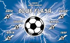 Blue Flash B55528  digitally printed vinyl soccer sports team banner. Made in the USA and shipped fast by BannersUSA.  You can easily create a similar banner using our Live Designer where you can manipulate ALL of the elements of ANY template.  You can change colors, add/change/remove text and graphics and resize the elements of your design, making it completely your own creation.