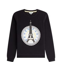 Kenzo Printed Cotton Sweatshirt featuring polyvore, women's fashion, clothing, tops, hoodies, sweatshirts, sweaters, black, kenzo sweatshirts, kenzo top, round neck top, long sleeve sweatshirt and long sleeve cotton tops