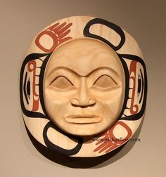 'Moon Mask' a handcarved mask by John Wilson, Haida. Handcarved from alder with paint. American Indian Art, Native American Indians, John Wilson, Haida Art, Aboriginal People, Indigenous Art, Wood Carvings, Totems, Native Art