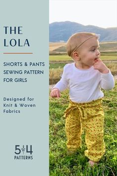 "PDF sewing pattern for Kids' Lola Shorts and Pants. Loose fit hips and legs and a ""paper bag"" waist makes these pants cute and stylish! Sewing Patterns For Kids, Sewing For Kids, Clothing Patterns, The Paper Bag, Fall Sewing, Pleated Shorts, Kids Pants, Girls Wardrobe, Modern Outfits"