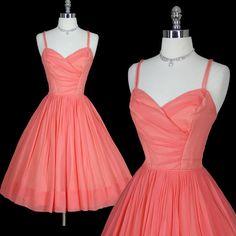 Vintage 50s 1950s Luscious Peach Silk Chiffon Elegant Bombshell Cocktail Party Wedding Dress S