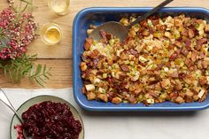 Cider, Bacon, and Golden Raisin Stuffing- RECIPE IMAGE / Photo by Tara Donne, Prop Styling by Alex Brannian, Food Styling by Cyd McDowell