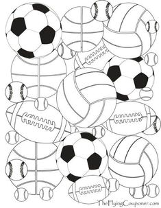 FREE printables! Colouring Pages for Adults and Kids. Sport Balls. Baseball…