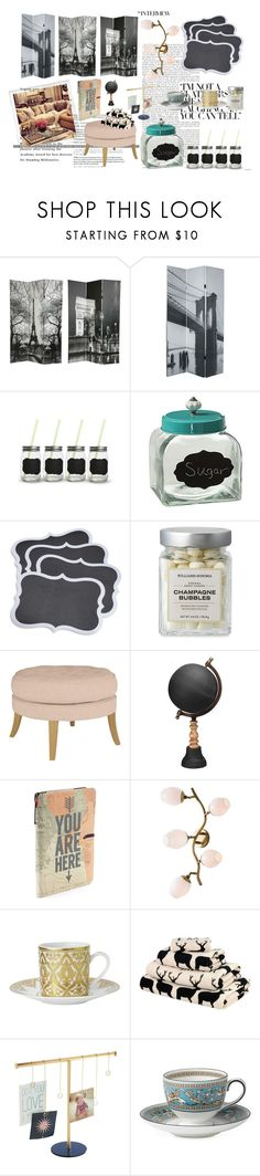 """""""Chalk board decor ♡"""" by livetarvackert ❤ liked on Polyvore featuring interior, interiors, interior design, home, home decor, interior decorating, Polaroid, Sur La Table, Jamie Young and Arteriors"""