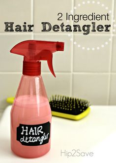 Homemade Hair Detangler Spray: In an empty spray bottle, put 2-4 pumps good quality conditioner + fill the rest of the way with hot water. Shake until completely mixed... it will cool enough in minutes to use as a lovely and warm hair detangler for you/your kids.
