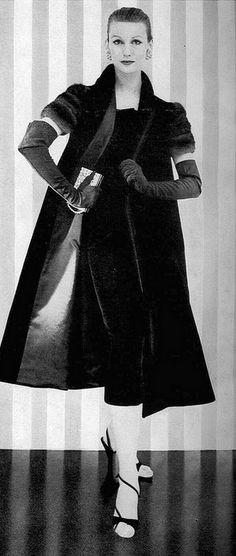 1954 black velvet with mink sleeves, Vogue Pattern.