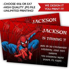 Spider Man Birthday Invitations - Printable Spider Man Birthday - Spider Man Birthday by ClassyPrintsOnline on Etsy https://www.etsy.com/listing/217980106/spider-man-birthday-invitations