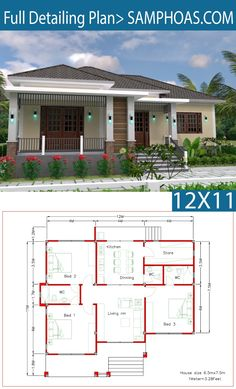 Interior Design Plan with Full Plan - SamPhoas Plan House Layout Plans, Bungalow House Plans, Dream House Plans, Small House Plans, House Floor Plans, The Plan, How To Plan, Modern Bungalow House Design, Simple House Design