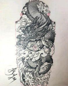 Dragon Tattoo With Skull, Dragon Tattoo Back Piece, Dragon Sleeve Tattoos, Leg Tattoos, Arabic Tattoos, Ankle Tattoo, Tribal Tattoos, Japanese Dragon Tattoos, Japanese Tattoo Art