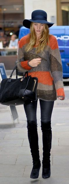 Casual chic Fall style. Rosie Huntington Whitely