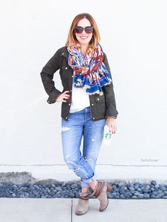 How to Wear Boyfriend Jeans - Booties, colorful scarf, army green cargo jacket, white t-shirt