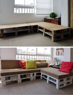 DIY Pallet Sofa Inspiration - Love this, with added storage! Diy Pallet Sofa, Diy Couch, Pallet Furniture, Outdoor Furniture Sets, Pallet Sectional, Pallet Benches, Furniture Ideas, Pallet Seating, Corner Furniture