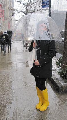 bubble umbrella & rain boots are a must